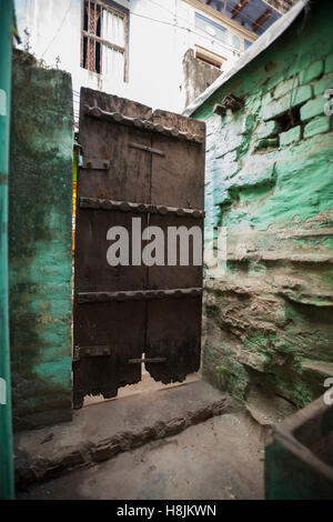 Old wooden door, Varanasi, India - Stock Photo