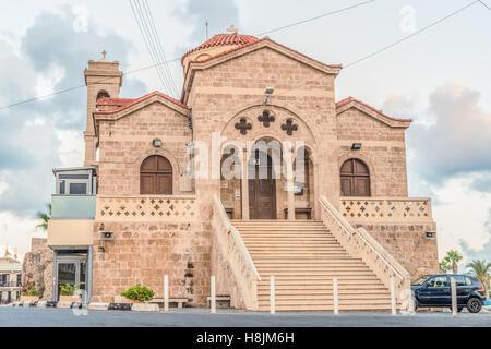 View of the Orthodox Church of Panagia Teoskepasti seventh century, Paphos, Cyprus. - Stock Photo