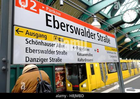 U Bahn Pankow U2 underground sign on platform and train at Eberswalder Straße, Prenzlauer Berg,  Berlin, Germany - Stock Photo