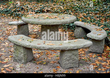 Autumn silence emptiness loneliness Botanical gardens at fall Wroclaw - Stock Photo