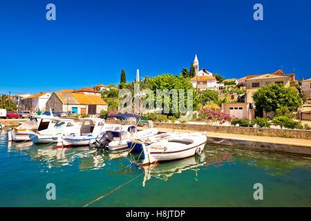 Town of Kali turquoise waterfront, island of Ugljan, Croatia - Stock Photo