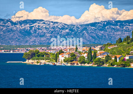 Island of Osljak, Zadar and Velebit mountain view, Dalmatia, Croatia - Stock Photo