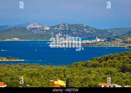 Murter island archipelago and town of Betina view, Dalmatia, Croatia - Stock Photo