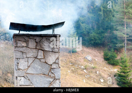 Large smoking chimney made of stone bricks with several pine trees in background - Stock Photo