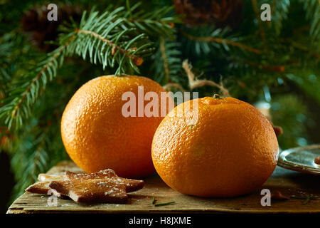 Tangerines and ginger cookies on spruce branches background - Stock Photo