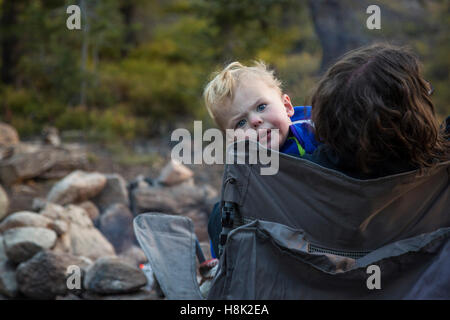 Tabernash, Colorado - Two-year-old Adam Hjermstad Jr. with his mother on a camping trip in the Rocky Mountains. - Stock Photo
