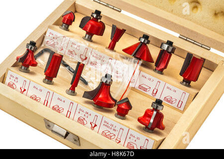 Selection of woodworking router bits - Stock Photo
