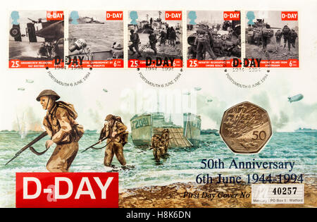 Great Britain 50p D-Day Coin First Day Cover (6th June 1994) to commemorate the 50th Anniversary of D-Day. In the - Stock Photo