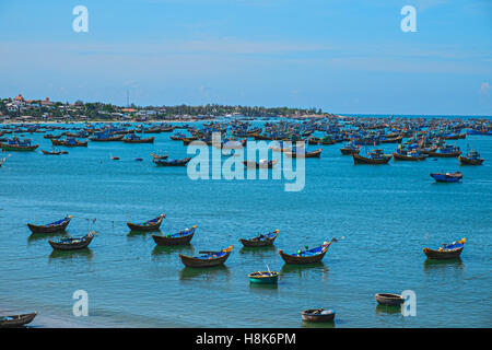 Vietnamese fishing village, Mui Ne, Vietnam, Southeast Asia. Landscape with sea and traditional colorful fishing - Stock Photo