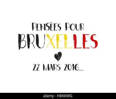 Pray for Brussels lettering with black heart. Tribute to victims of terrorism attack in Brussels airport, metro - Stock Photo