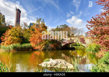 Gapstow Bridge in the autumn in Central Park, New York City. - Stock Photo
