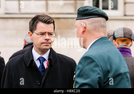 Belfast, Northern, Ireland. 13th Nov, 2016. Secretary of State for Northern Ireland, James Brokenshire MP chats - Stock Photo