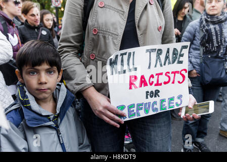 New York, USA 12 November 2016 - Five days after the Presidential Election anti-Trump protesters march from Trump - Stock Photo