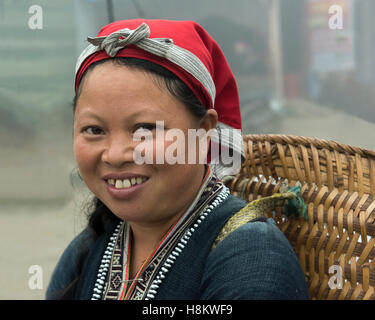 Portrait of a Red Dao woman, Sa Pa, north Vietnam - Stock Photo