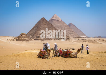 Cairo, Egypt Tourists and camel drivers with their camels resting in the desert with the three Great pyramids of - Stock Photo