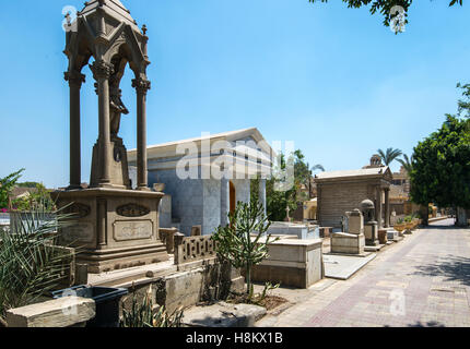 Cairo, Egypt. Greek Orthodox cemetery near the Monastery of St. George in the Coptic Quarter. - Stock Photo