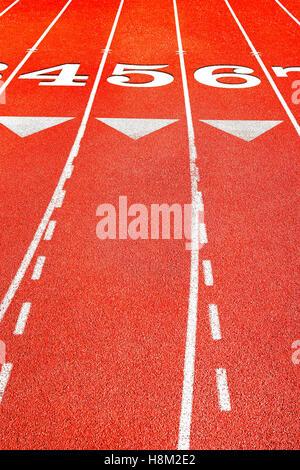 Lane Marks on Running Track - Stock Photo