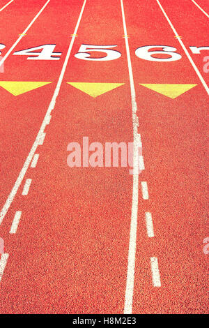 Lane Marks on Running Track - Stock Photo
