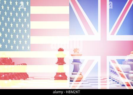 Chess game USA vs UK - Stock Photo