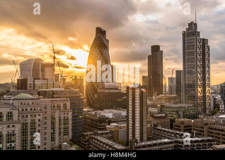 a London skyline, cityscape, high rise, skyscraper, the Gherkin, Tower 42, Heron Tower, night, dusk city, financial - Stock Photo