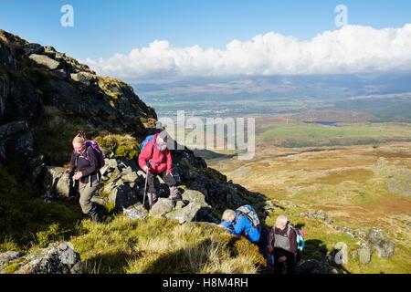 Hikers hiking in Rhinogydd mountains of southern Snowdonia National Park. Trawsfynydd, Gwynedd, Wales, UK, Britain - Stock Photo