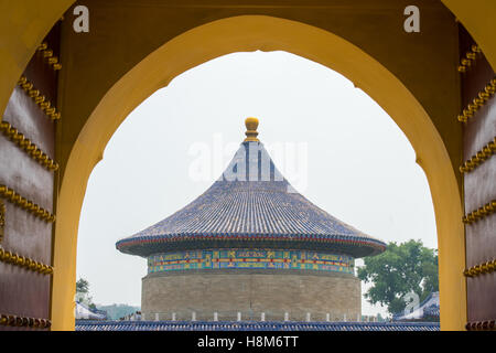 Beijing, China - Outside the gates of the Temple of Heaven, an imperial sacrificial altar located in Central Beijing. - Stock Photo