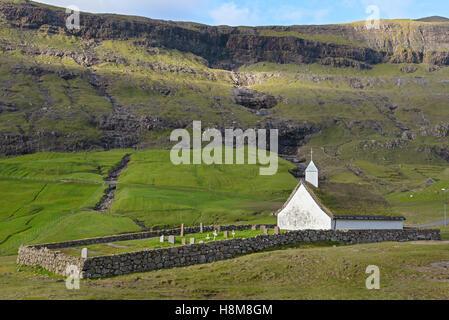 The old Lutheran church in Saksun on the island of Streymoy, Faroe Islands, Denmark - Stock Photo