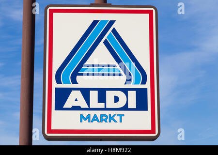 Aldi Logo Lettering Of The Food Discount Store Aldi Nord Germany