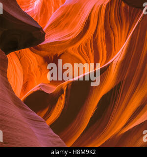 swirling sandstone in lower antelope canyon near page, arizona - Stock Photo