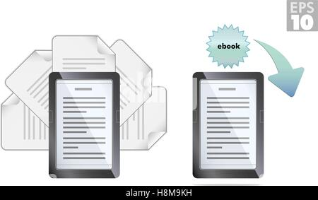 Ebook reader with pages and download icons - Stock Photo