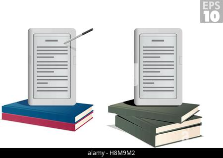 Ebook reader on a stack of hardcover books - Stock Photo