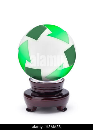 Crystal ball displaying recycling symbol - Stock Photo