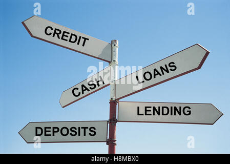 Signpost to banking - Stock Photo