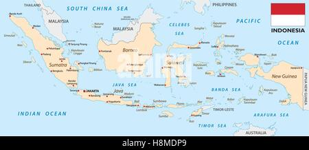 indonesia map with flag - Stock Photo