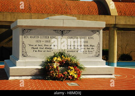 The graves of Martin Luther King and Coretta Scott King are prominent at the Martin Luther King Center for Non-violent - Stock Photo