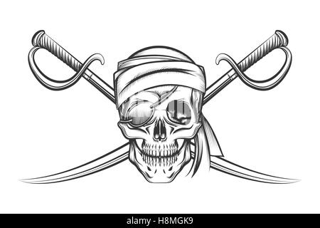 Pirate symbol of a skull in the captain's hat and two crossed swords. Vector illustration in tattoo style - Stock Photo