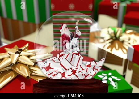 Christmas decoration with santa claus figurine in crystal bowl - Stock Photo