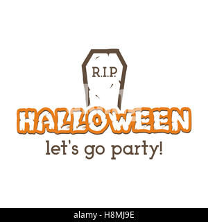Halloween RIP party label template with tombstone and typography ...