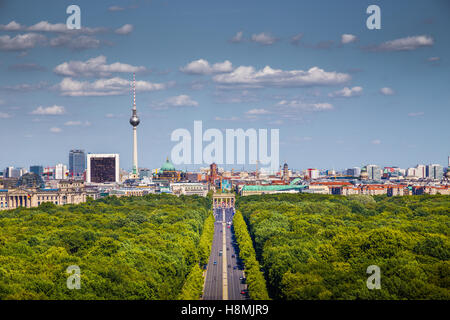 Aerial view of Berlin skyline panorama with Grosser Tiergarten public park on a sunny day with blue sky and clouds, - Stock Photo
