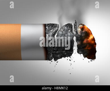Lungs and smoking medical concept as a lit cigarette with the ashes shaped as a human breathing organ as a nicotine - Stock Photo