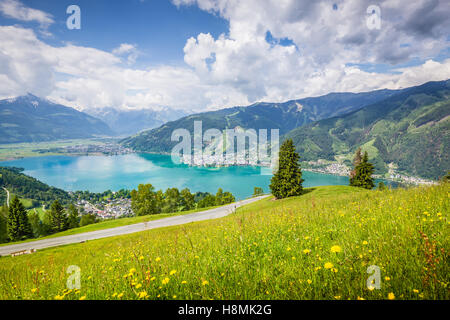 Beautiful mountain scenery in the Alps with clear lake and meadows full of blooming flowers in summer, Zell am See, - Stock Photo