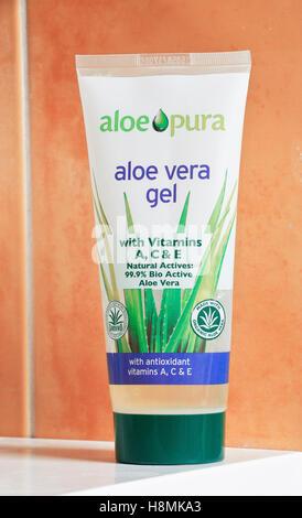 A tube of Aloe Pura, aloe vera gel - Stock Photo