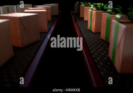 A 3D render of a production line of Christmas gift boxes in varying stages of wrapping on conveyor belts - Stock Photo