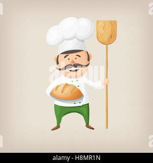 Cartoon baker with fresh bread and a shovel in his hands. - Stock Photo