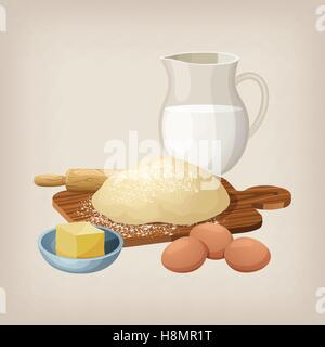 The dough on the board with a rolling pin. Eggs, butter, and milk jug. - Stock Photo