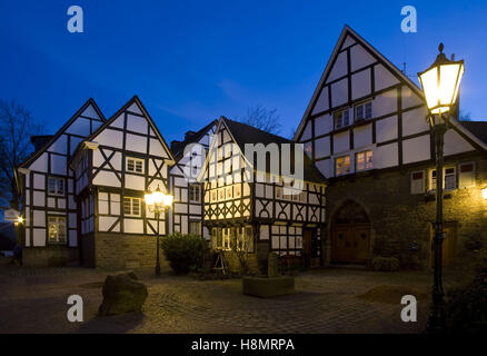 Germany,  Ruhr Area, Wetter at the river Ruhr, houses in the old part of the town, five gable corner. - Stock Photo