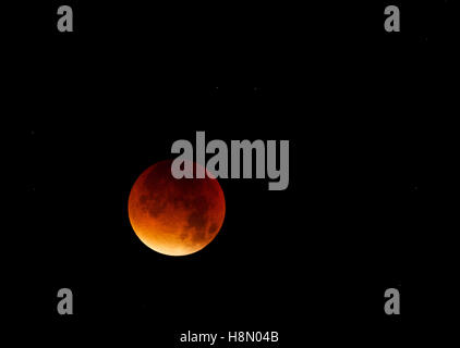 Supermoon or Bloodmoon 27/28 September 2015;evolved - Stock Photo