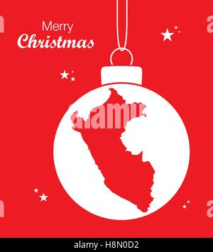 Merry Christmas Map Peru - Stock Photo