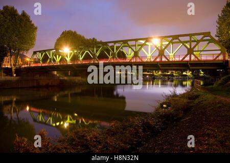 Germany,  Ruhr area, Waltrop, bridge across the Dortmund-Ems-Canal. - Stock Photo
