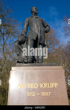 Germany,  Essen, statue of Alfred Krupp (1812-1887) in the park of Villa Huegel, mansion of the industrialist family - Stock Photo